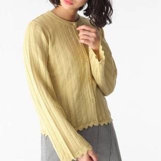 ミスティウーマン(mysty woman)の新品 ミスティウーマン ストライプ編みフレア袖ニットカーディガン(カーディガン)
