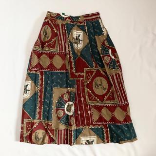 ロキエ(Lochie)のVintage 90s レトロ総柄スカート(ひざ丈スカート)