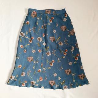 ロキエ(Lochie)のVintage 90s くすみグリーン 花柄スカート(ひざ丈スカート)
