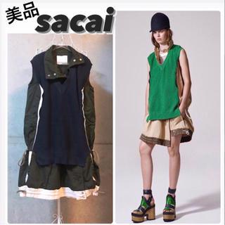 サカイ(sacai)の【美品】sacai/サカイ ニットドッキングワンピース(ひざ丈ワンピース)