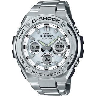 ジーショック(G-SHOCK)のカシオ G-SHOCK Gスチール 電波ソーラー 腕時計 シルバー×ホワイト(腕時計(アナログ))