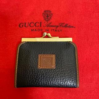 Gucci - 貴重 未使用 GUCCI オールド グッチ がま口 小銭入れ 財布 レザー 黒