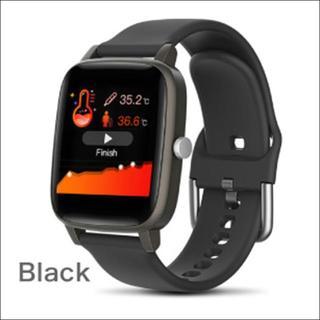 2020年版 多機能スマートウォッチ ブラック(体温/睡眠/心拍測定、防水)(腕時計(デジタル))