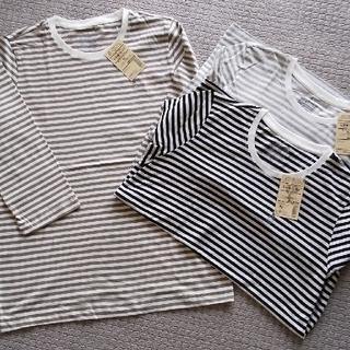 ムジルシリョウヒン(MUJI (無印良品))の無印良品  未使用・ボーダー7分袖  Tシャツ(XL)3枚セット(Tシャツ(長袖/七分))