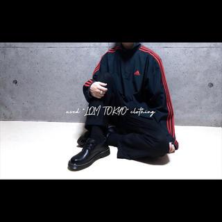 アディダス adidas 黒×赤 ライン ハーフジップ プルオーバー ジャージ(ジャージ)