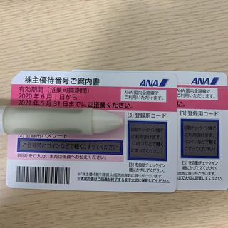 エーエヌエー(ゼンニッポンクウユ)(ANA(全日本空輸))のANA 株主優待 2枚 2021年5月31日まで(航空券)
