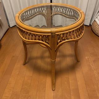 アクタス(ACTUS)のかなり美品 アンティーク ラタン 籐 コーヒーテーブル サイドテーブル 家具(コーヒーテーブル/サイドテーブル)