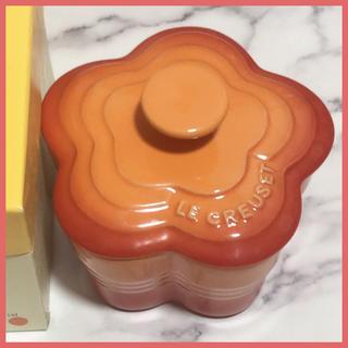 ルクルーゼ(LE CREUSET)の新品未使用☆ル・クルーゼ ラムカン スモール 花 S オレンジ フタ付き(食器)