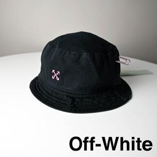 オフホワイト(OFF-WHITE)の新品 OFF-WHITE BUCKET HAT/BLACK FUCHSIA 黒(ハット)