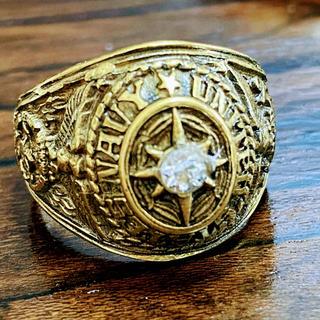 ◆激レア◆大きめサイズ◆カレッジリング◆アメリカ海軍◆ホワイト◆24号◆10金張(リング(指輪))
