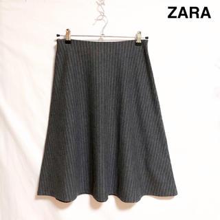 ザラ(ZARA)のZARA ストレッチ フレアスカート ストライプ グレー(ひざ丈スカート)