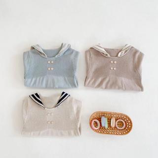 韓国子供服 セーラーニットロンパース (ニット/セーター)