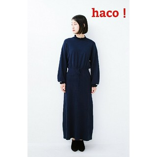 haco ハコ フリル ドッキング風ニットワンピース