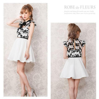ROBE - ROBE de FLEURS/ローブドフルール ローズジャガードフレアミニドレス