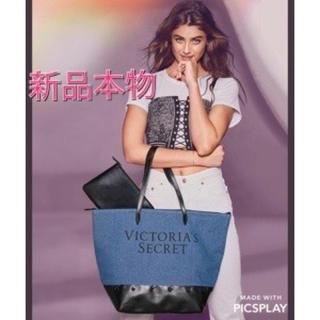ヴィクトリアズシークレット(Victoria's Secret)の新品本物★VS★ポーチ付★デニムトートバッグ★ヴィクシー(トートバッグ)