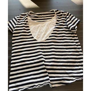 ムジルシリョウヒン(MUJI (無印良品))のボーダー Tシャツ 授乳用(マタニティトップス)