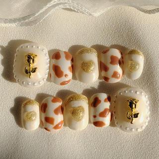 【現品セール】秋ネイル アンティーク 量産型 ヒョウ柄 ネイルチップ(つけ爪/ネイルチップ)