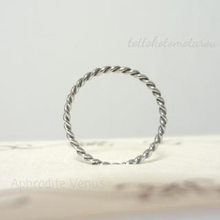 スリムツイスト ピンキーリング 指輪 極細 サージカルステンレス 重ね付け 3号(リング(指輪))