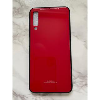 ギャラクシー(Galaxy)のシンプル&可愛い耐衝撃背面9HガラスケースGalaxyA7(2018)レッド 赤(Androidケース)