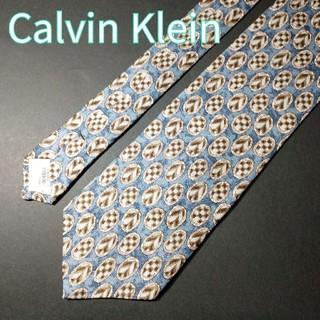 カルバンクライン(Calvin Klein)の【極美品】Calvin Klein  球体柄 ネクタイ ブルー(ネクタイ)