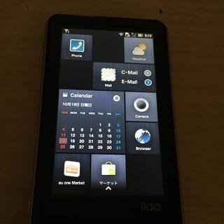 エーユー(au)のiida 携帯電話 白ロム au A01(携帯電話本体)