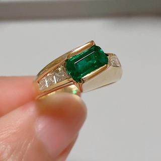 ☆ 1ctup エメラルドリング ☆ k18yg イエロー ダイヤモンドリング (リング(指輪))