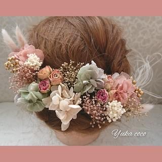 ドライフラワー ヘッドドレス 髪飾り❁︎成人式 結婚式 振袖 前撮り 袴 色打掛(ヘッドドレス/ドレス)