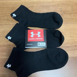 アンダーアーマー(UNDER ARMOUR)の新品タグ付き3足分セット靴下ソックスMDアンダーアーマーブラック(ソックス)