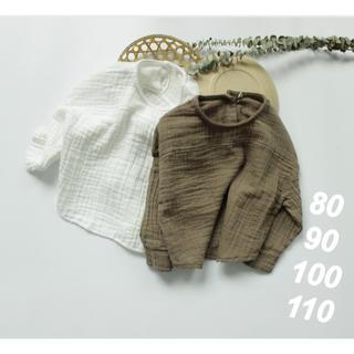 プティマイン(petit main)のリネンロングTシャツ  80 90 100 110  韓国子供服  男女兼用(Tシャツ)
