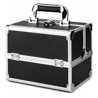 メイクボックス 収納ボックス 大容量 プロ用 コスメボックス 鏡付き ブラック(メイクボックス)