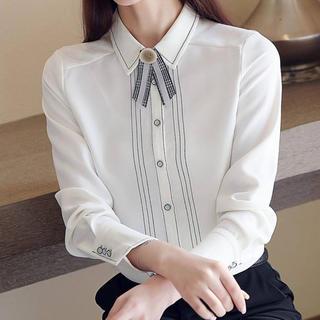 eimy istoire - ラインデザインレトロリボンシャツ(ホワイト)