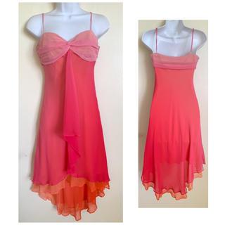 ビーシービージーマックスアズリア(BCBGMAXAZRIA)のBCBG ピンク ombré シルク ドレス 2(ミディアムドレス)