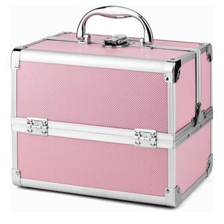 メイクボックス 収納ボックス 大容量 プロ用 コスメボックス 鏡付き ピンク(メイクボックス)