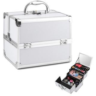 メイクボックス 収納ボックス 大容量 プロ用 コスメボックス 鏡付き シルバー(メイクボックス)