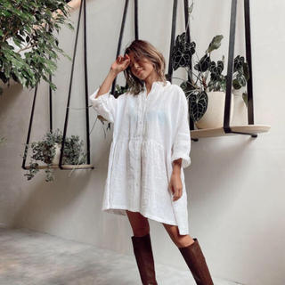 ALEXIA STAM - アリシアスタン♡Stand Collar Shirt Dress White