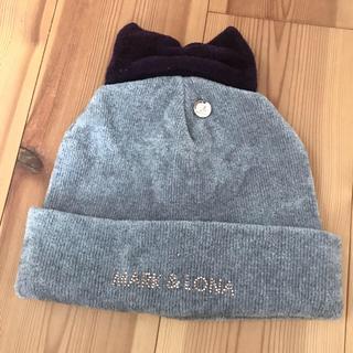 マークアンドロナ(MARK&LONA)のマーク&ロナ★ラメ入り生地 リボン付きゴルフニット帽(その他)