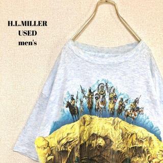アメリヴィンテージ(Ameri VINTAGE)のUS輸入 H.L.MILLER メンズ半袖Tシャツ インディアン USA製 XL(Tシャツ/カットソー(半袖/袖なし))