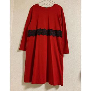 ジュンコシマダ(JUNKO SHIMADA)のジュンコシマダpart2  赤いレースワンピース(ひざ丈ワンピース)