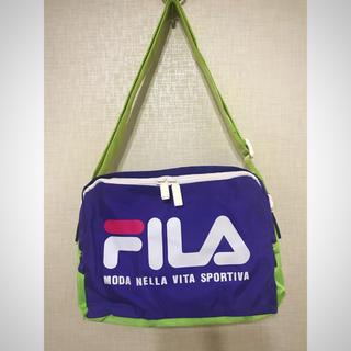 フィラ(FILA)の【新品】FILA ショルダー・斜めがけバッグ パープル×ライトグリーン(ショルダーバッグ)