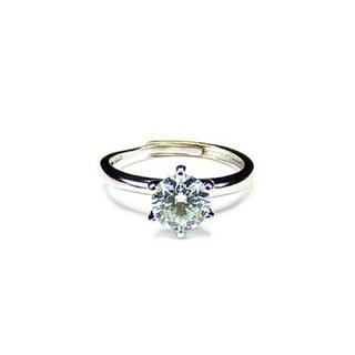 モアッサナイト1ct銀925指輪15号プラチナメッキ強い輝きU00163(リング(指輪))