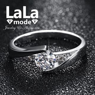 【 16号 】リング 指輪 レディース AAA ジルコニア プラチナ仕上げ(リング(指輪))