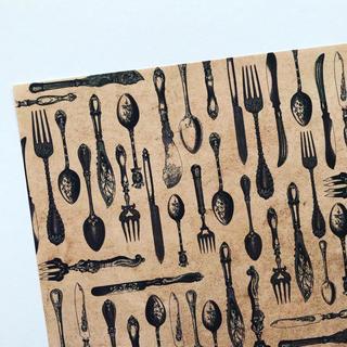 オリジナル デザインペーパー カトラリー ブラウン A4 10枚(カード/レター/ラッピング)