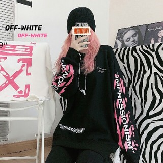 オフホワイト(OFF-WHITE)のピンクのグラフィティの矢印のラウンドウェッジ(Tシャツ(長袖/七分))