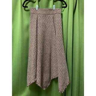ミーア(MIIA)のMIIA ツイードフリンジフレアスカート レッド(ひざ丈スカート)
