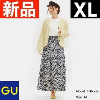 ジーユー(GU)のデイジープリントフレアロングスカート GU ジーユー 紺 ネイビー XLサイズ(ロングスカート)