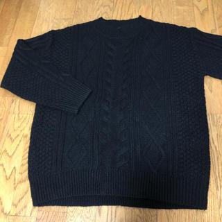 ハニーズ(HONEYS)の真っ黒 縄編み シンプルセーター Lサイズ(ニット/セーター)