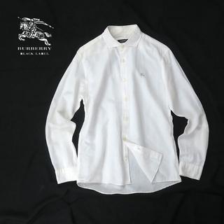 BURBERRY BLACK LABEL - BURBERRY BLACK LABEL リネンブレンド ホワイトシャツ