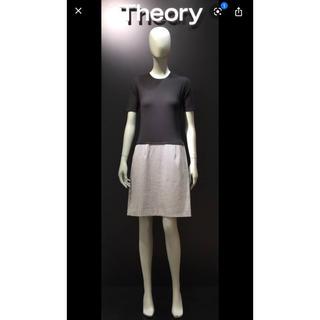 theory - Theory 半袖 ニット コンビ ワンピース ドレス ブラック