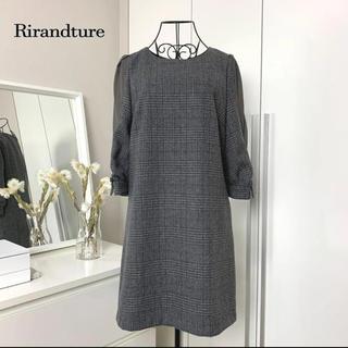 Rirandture - 【美品】リランドチュール チェック袖シフォンワンピース