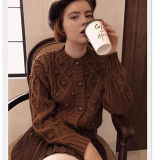 pom pom cable knit cardigan brown エピヌ 茶色(ニット/セーター)